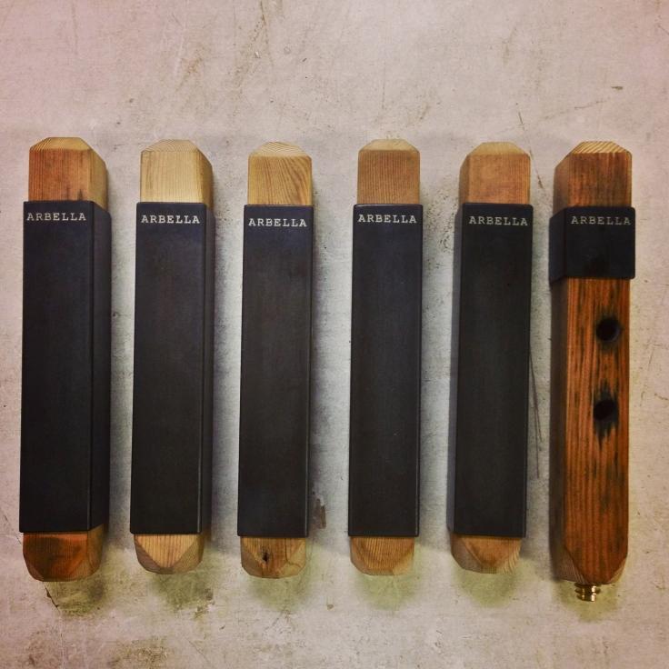 """Arbella Tap Handles, Wood, Steel 1"""" x 1"""" x 8"""""""