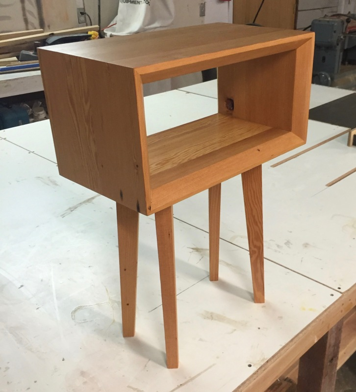 Midcentury Modern Bedside Table, Reclaimed Dougfir