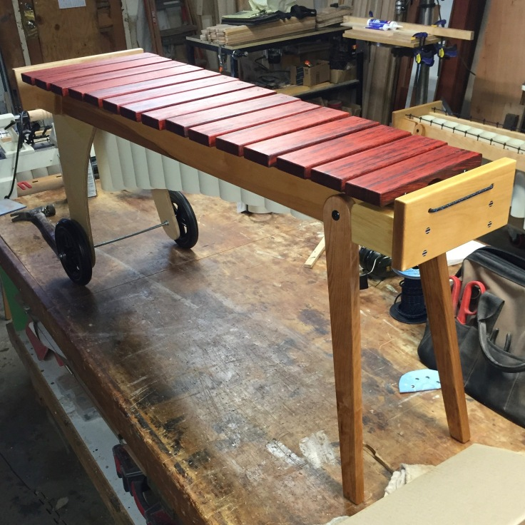 Marimba: Padauk, Birch, & Apple Ply. Designed and created by Mark Burdon (http://markburdonwoodcraft.com)