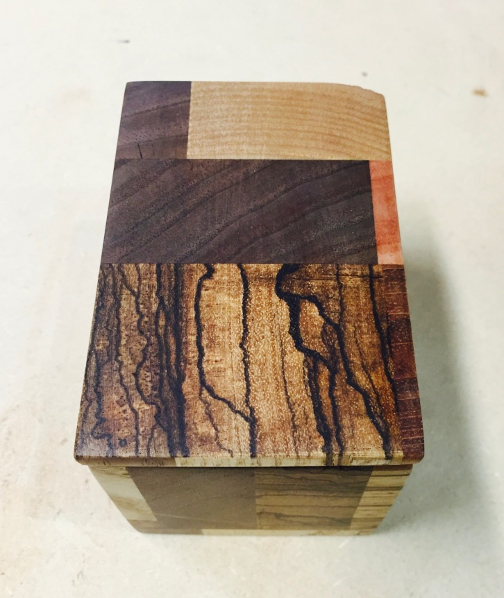 History Box, Zebrawood, walnut, cherry, oak, & alder